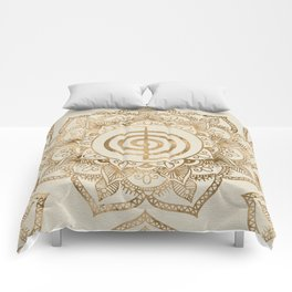 Cho Ku Rei - pastel gold lotus mandala Comforters