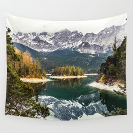 Green Blue Lake, Trees and Mountains Wall Tapestry