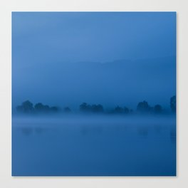 Blue morning on the river Canvas Print