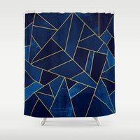 stone Shower Curtains featuring Blue stone with yellow lines by Elisabeth Fredriksson