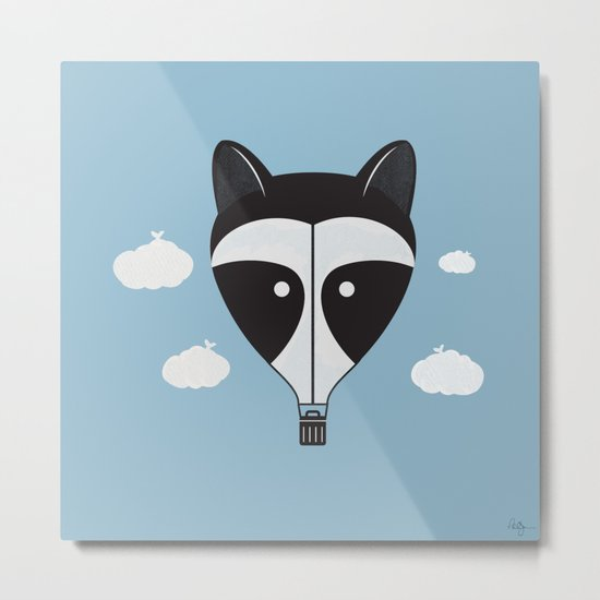 Hot Air Raccoon Metal Print