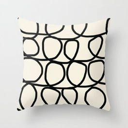 Loop Di Doo Cream & Black Throw Pillow