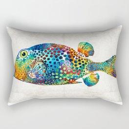 Puffer Fish Art - Puff Love - By Sharon Cummings Rectangular Pillow