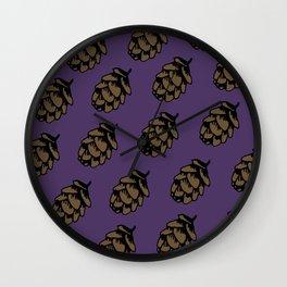 Purple Pinecone Pattern Wall Clock