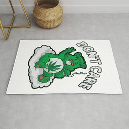DO NOT CARE BEAR Smoking Bear Hemp Leaf Ganja 420 Rug