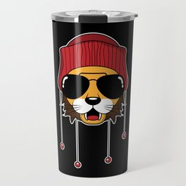 Cool Lion King with Glasses and red cap ideal gift Travel Mug