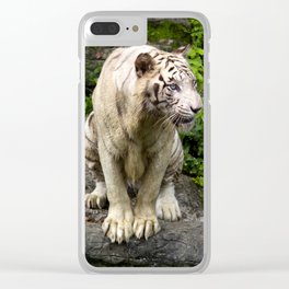 Unhappy White Tiger Clear iPhone Case