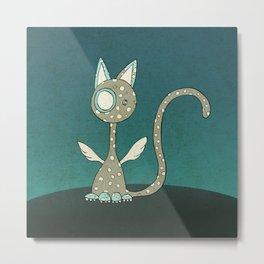 Winged polka-dotted beige cat Metal Print