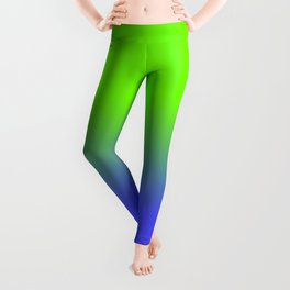 Neon Blue and Neon Green Ombré  Shade Color Fade Leggings