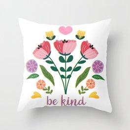 Be Kind Folk Art Bouquet Throw Pillow
