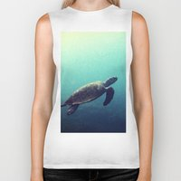 sea turtle Biker Tanks featuring Turtle by Rachel's Pet Portraits