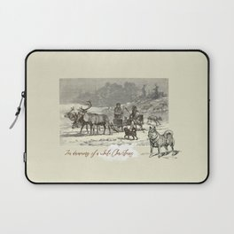 Nothern winter scene with Dogs and Reindeers team Laptop Sleeve