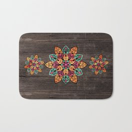 Pyrographed  Flower with color on Wood Bath Mat