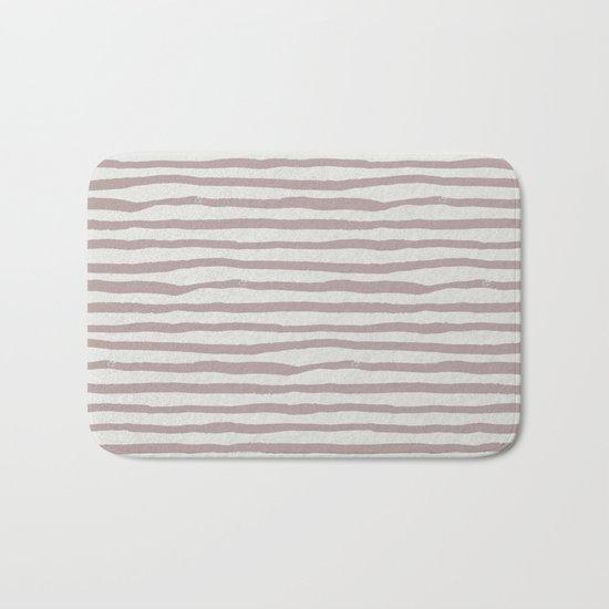 Simply Shibori Stripes Clay Pink on Lunar Gray Bath Mat