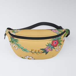 Hand Painted Flower Wreath - Let That Shit Go Fanny Pack