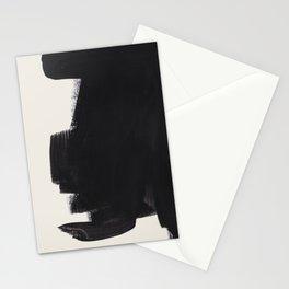Mid Century Modern Minimalist Abstract Art Brush Strokes Black & White Ink Art Colorfield Stationery Cards