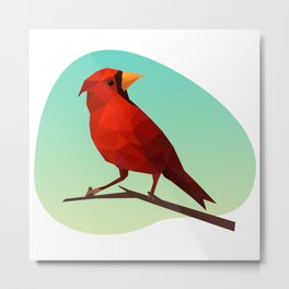 Low-poly Red Bird Metal Print