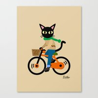 cycling Canvas Prints featuring Whim's cycling by BATKEI