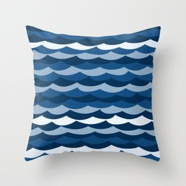 Classic Blue Wave Pattern Throw Pillow