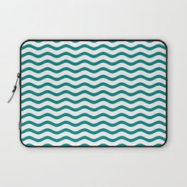 Teal and White Chevron Wave Laptop Sleeve
