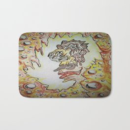 Face in the Cave Watercolor Ink Doodle Bath Mat