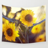 sunflowers Wall Tapestries featuring Sunflowers by elle moss