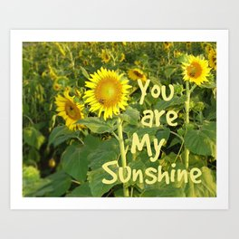 Sunflower Art // You are My Sunshine, Art with Bees Art Print