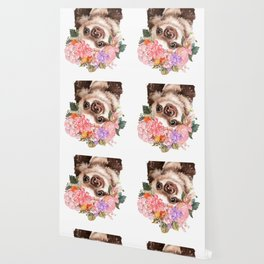 Baby Sloth with Flowers Crown in White Wallpaper
