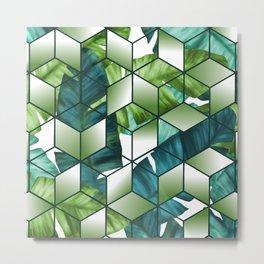 Tropical Cubic Effect Banana Leaves Design Metal Print