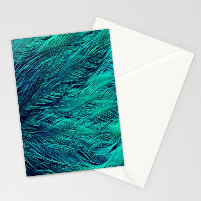 Teal Feathers Stationery Cards