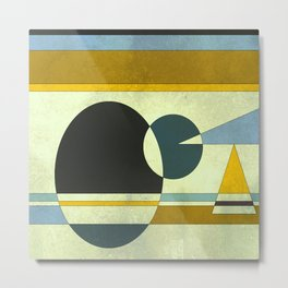 Sailing on the Sea, Geometric Gold and Blue Metal Print