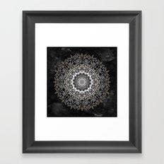 GOLD FLORAL MANDALA Framed Art Print