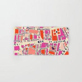 paris map pink Hand & Bath Towel