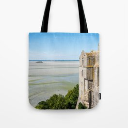Mont Saint-Michel and the bay at low tide Tote Bag