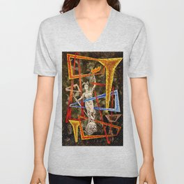 Monumental geometric Unisex V-Neck