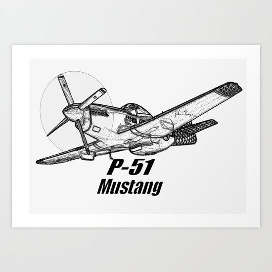 P 51 Mustang line drawing Art Print