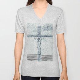 I preach Christ & Christ Crucified Unisex V-Neck