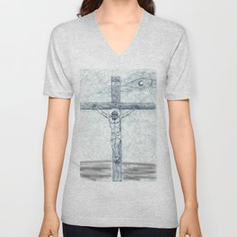 I preach Christ & Christ Crucified Unisex V-Neck