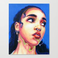 fka twigs Canvas Prints featuring Fka Twigs by Passion for Pencils