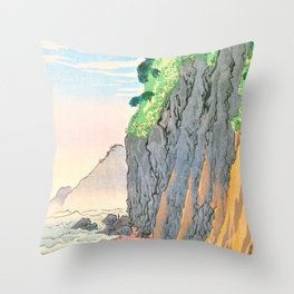 Kobayashi Kiyochika - Sketches of the Famous Sights of Japan - Oyashirazu Coast - Digital Remastered Edition Throw Pillow