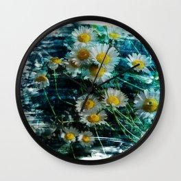 Ox-eye daisy flower brushstrokes Wall Clock