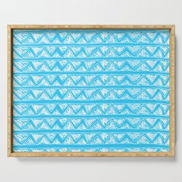 Simple Geometric Zig Zag Pattern - White on Teal - Mix & Match with Simplicity of life Serving Tray