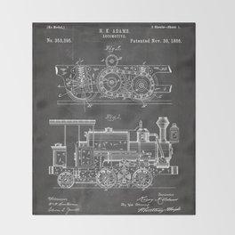Steam Train Patent - Steam Locomotive Art - Black Chalkboard Throw Blanket
