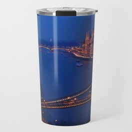 Panorama of Budapest, Hungary, with the Chain Bridge and the Parliament. Travel Mug