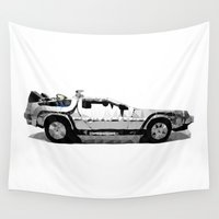 low poly Wall Tapestries featuring Delorean Low poly by Angel Decuir