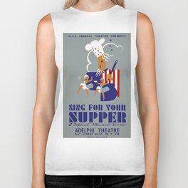 Vintage poster - Sing For Your Supper Biker Tank