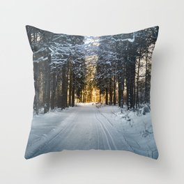 Winter Photography - Ski Trail Towards The Sun Throw Pillow