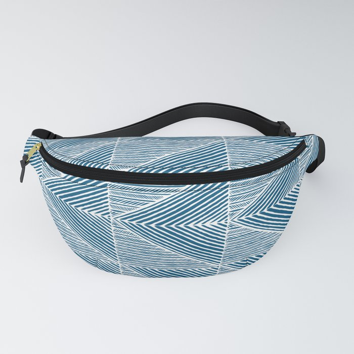 Teal Blue Diagonal Lines Fanny Pack