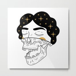 Galaxy Skull Girl Metal Print