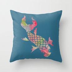 Rainbow Koi Fish Throw Pillow